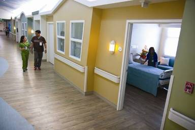 nursing facility with colorful rooms